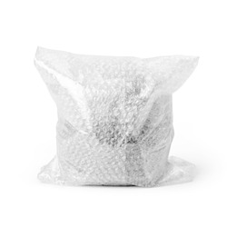 Close-up of bubble wrap package isolated on white background. Clipping path included