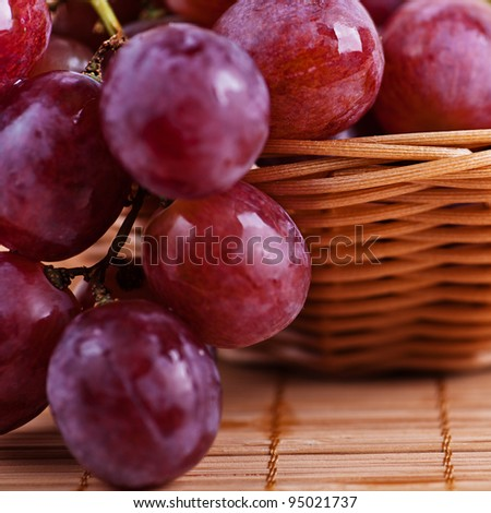"close-up of bunch of blue dessert grapes ""cardinal"" falling outside braided cloth on wicker basket - stock photo"