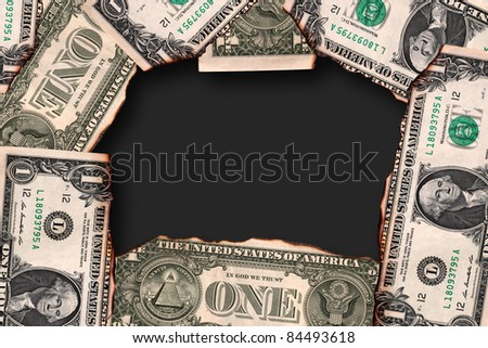 Close up of Burn US Dollar currency