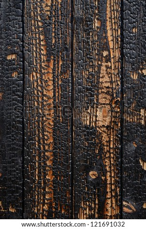 Close up of burnt wooden planks background