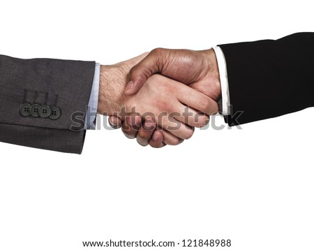 Close-up of business colleagues shaking hands on white background