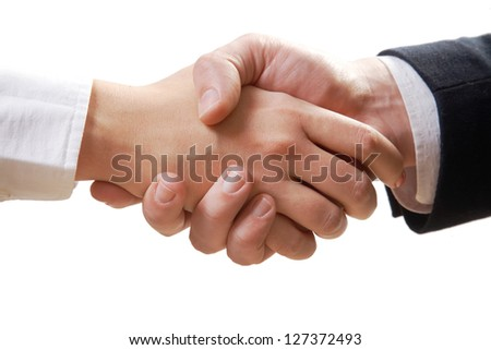 Close- up of business handshake isolated on white background