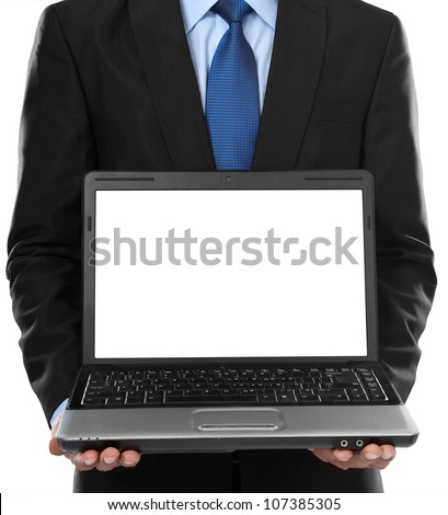 Close-up of business man presenting blank laptop screen