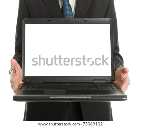 Close-up of business man presenting laptopn
