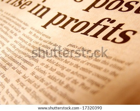 Close up of business news