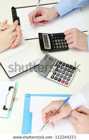 close up of business people hands during teamwork