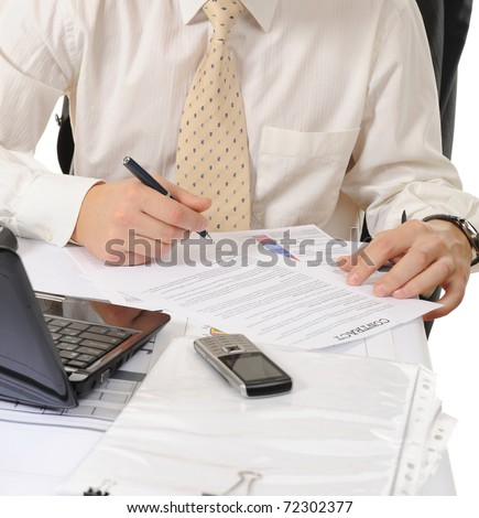 Close-up of business person hands working with document