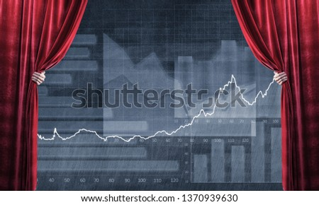 Close up of businessman hand open red velvet curtain to infographs #1370939630