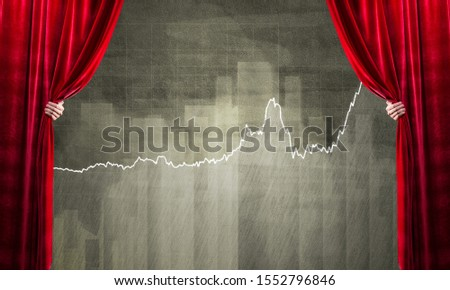 Close up of businessman hand open red velvet curtain to infographs #1552796846