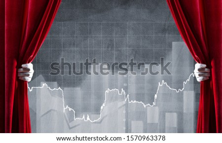 Close up of businessman hand open red velvet curtain to infographs #1570963378