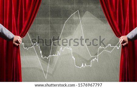 Close up of businessman hand open red velvet curtain to infographs #1576967797