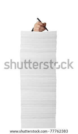 close up of businessman hand writing on stack of papers on white background