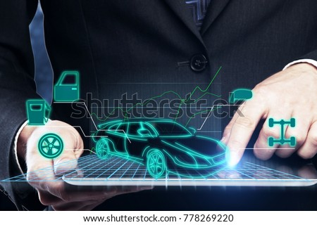 Close up of businessman hands holding tablet with abstract car service hologram. Maintenance concept. 3D Rendering