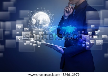 Close up of businessman holding global connection #524613979