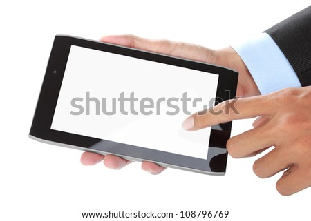 close up of businessman's hand holding touch screen tablet