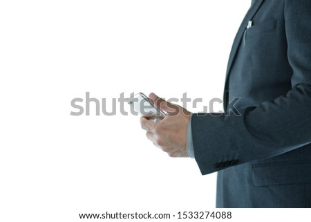 Close up of businessman with  smart phone or mobile phone isolated on white background