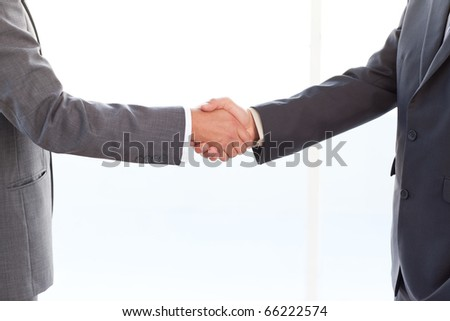 close up of businessmen shaking their hands after a meeting at the office