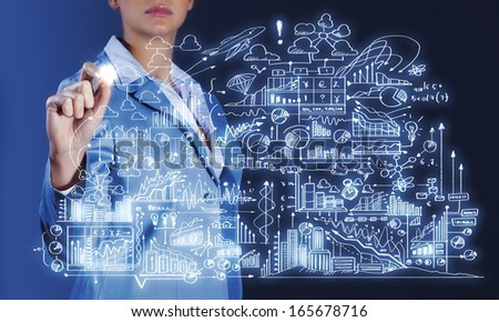 Close up of businesswoman sketching business project #165678716