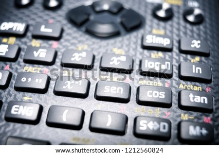 Close-up of buttons a scientific calculator.