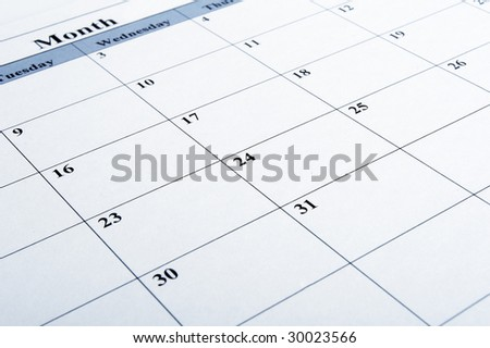 close up of calendar a