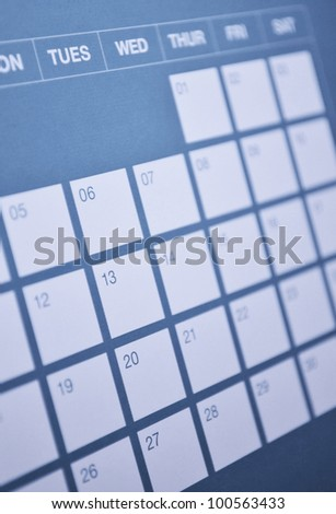 Close-up of calendar page