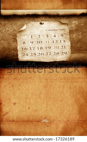 Close up of calendar with burned edges