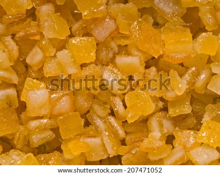 close up of candied orange citrus peel food background