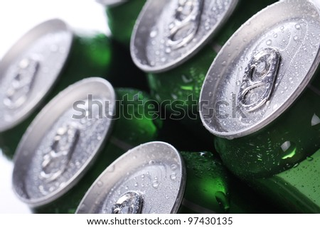 Close up of cans with cold drink