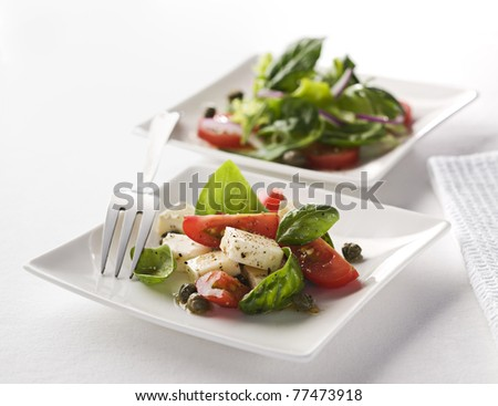Close up of caprese salad on white plate