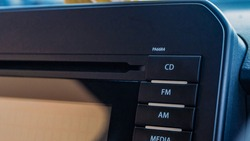 Close up of car music player