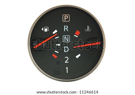 Close up of car petrol and temperature meters