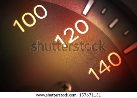 Close up of car speed meter