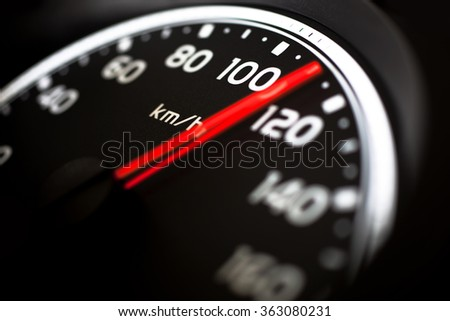Close up of car speed meter