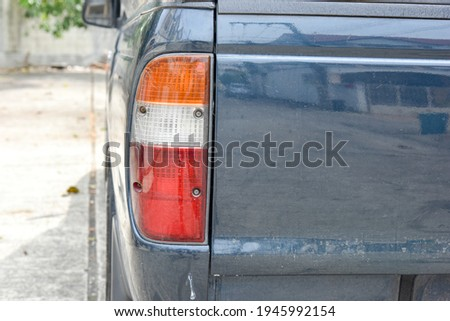 close up of car taillight with old color, old taillight light of car taillight not bright Stockfoto ©
