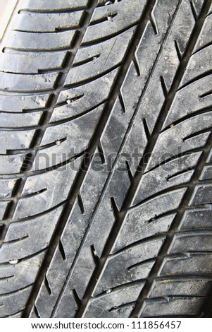 Close-up of car tire to background