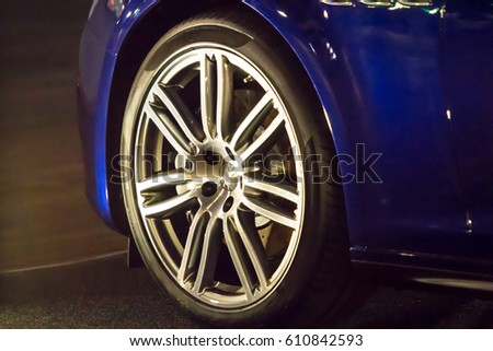 Close up of car wheel on a car #610842593