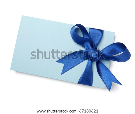 close up of  card note with blue ribbon on white background  with clipping path