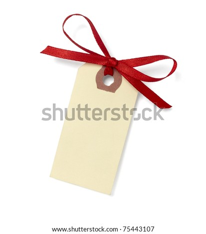 close up of  card note with red ribbon on white background  with clipping path