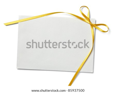 close up of  card note with  ribbon on white background  with clipping path