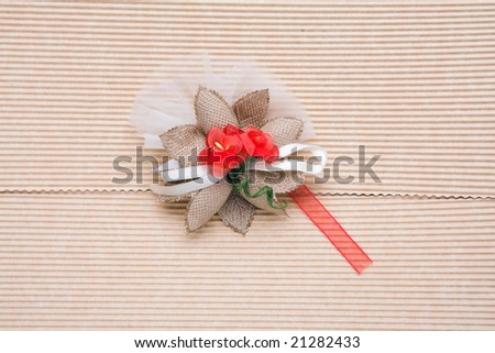 close up of cardboard gift packing with decoration