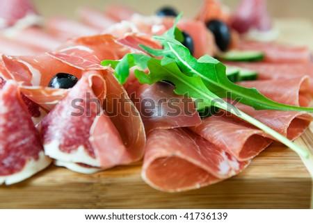 Close up of carpaccio,salami and ham