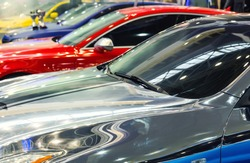 Close up of cars in a row