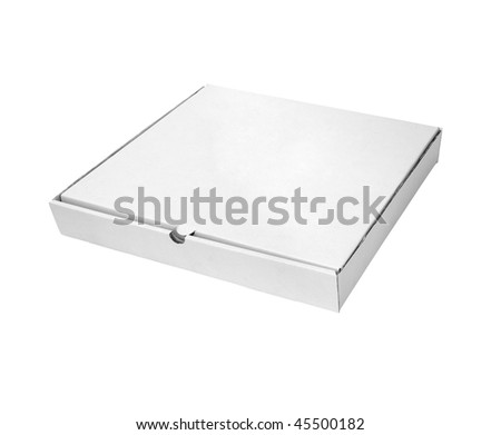 close up of carton  box  for pizza on white background with clipping path