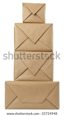 close up of carton  box  post package on white background with clipping path - stock photo