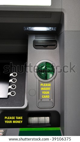 Close up of cash machine (ATM - Automated Teller Machine). Front view. Useful file for your economy, finance, money article, brochure, flyer, website and other media needs.