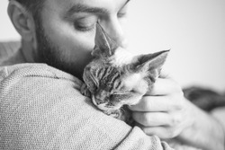 Close-up of cat and man. Black and white portrait of a Devon Rex kitten and young beard guy. Handsome animal-lover man is hugging and cuddling his little cat. Cat enjoys human company.