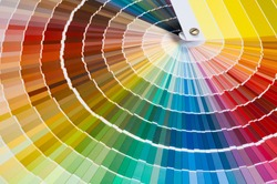 Close-up of catalog of paints with a various color palette