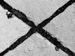 close up of cement floor show texture of intersection line in monochrome