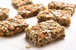 Close up of cereal granola bar. Healthy natural snack, close up view