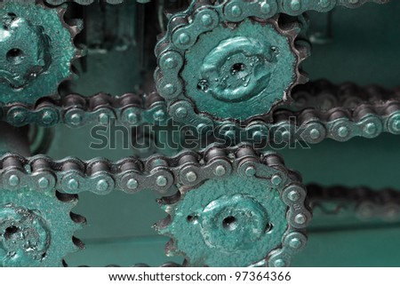 Close up of chain gears - stock photo
